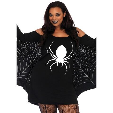 Leg Avenue Women's Plus Size JerSexy Spiderweb Dress , 1X-2X, Black