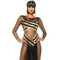 Leg Avenue's 3Pc.Nile Queen Catsuit Dress W/Jewel Collar Head Piece Small Black/Gold