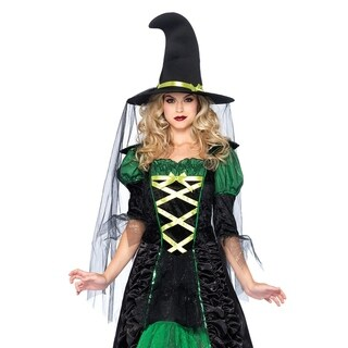 Leg Avenue Women's 2Pc.Storybook Witch,Dress With, X-Large, Blk/Green