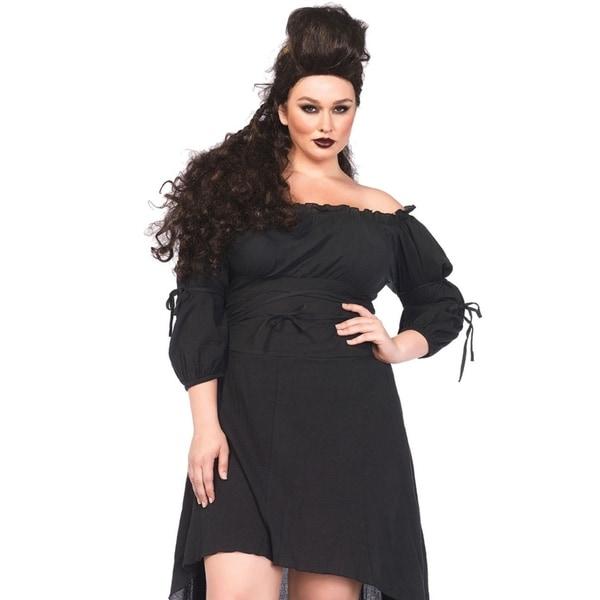 Leg Avenue Women's Plus-Size Plus High Low Peasant Dress Costume , 1X-2X, Black