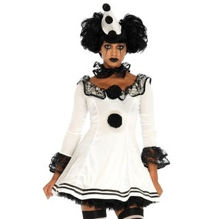 Leg Avenue Women's 3 Pc Pierrot Clown Halloween Costume , Sml/Med, White/Blk