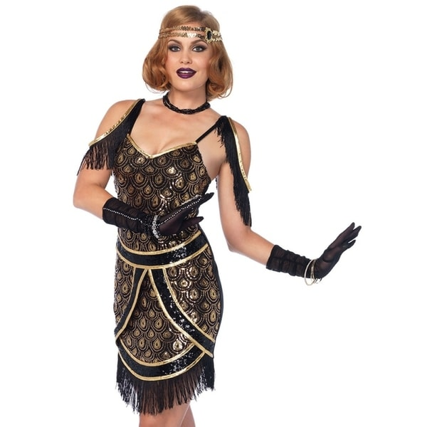 b2fedb34e Shop Leg Avenue's 2Pc.Speakeasy Sweetie,Peacock Sequin Art Deco Dress,Jewel  Headband Small Black/Gold - Free Shipping Today - Overstock - 23555551