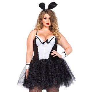 Leg Avenue Women's Plus-Size 4 Piece Curvy Bunny Costume 1, 1X-2X, Blk/White
