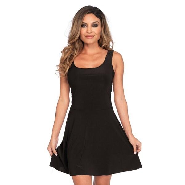 4daa80b262689 Shop Leg Avenue Women's Basic Skater Dress , Sml/Med, Black - Free ...