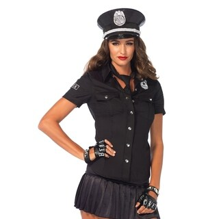 Leg Avenue Women's 2 Piece Police Shirt And Tie Costume , Small, Black