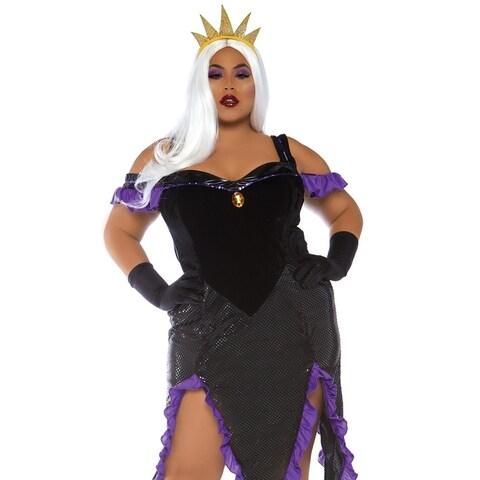 Leg Avenue Women's 2 Pc Sultry Sea Witch,Ude, 1X-2X, Blk/Purple
