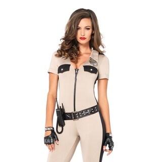 Leg Avenue Women's 4 Piece Deputy Patdown Police Costume Tan , Small, Tan