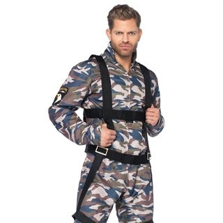 Leg Avenue's 2Pc.Paratrooper,Zipper Front Camo Flight Suit,Body Harness Medium Camo