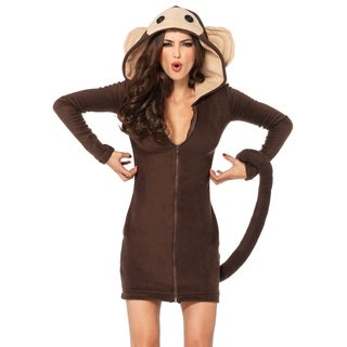Leg Avenue's Cozy Monkey,Dress W/Attached Tail, And Funny Face Hood Small Brown