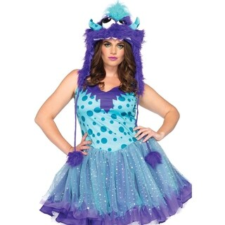 Leg Avenue Women's Plus-Size 2 Piece Polka Dotty Monster Costume Aqua , 1X-2X, Aqua/Prple
