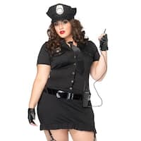 Leg Avenue Women Costume's 6Pc. Dirty Cop Incl Hat  Dress  Gloves  Belt  Tie & Walkie Talkie 3X-4X Black