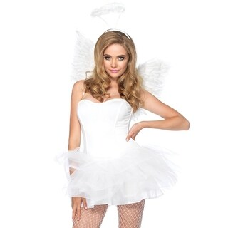 Leg Avenue Women Costume's 2Pc. Angel Accessory Kit Includes Wings And Halo O/S White