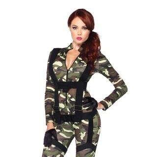 Leg Avenue's 2Pc.Pretty Paratrooper,Zipper Front Camo Jumpsuit And Body Harness Small Camo