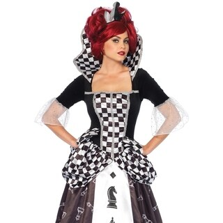 Leg Avenue's 2Pc.Wonderland Chess Queen,Long Chess And Crown Small Black/White