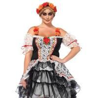 Leg Avenue's 2Pc.Sugar Skull Senorita,High/Low Dress And Floral Headband 1X-2X Multicolor