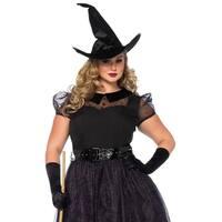 Leg Avenue's 3Pc.Darling Spellcaster,Tea Length Glitter Dress,Belt,Hat 1X-2X Black
