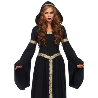 Leg Avenue's Pagen Witch, Long Hooded Cloak W/Braid Trim And Corset Lace Up Back X-Large Black/Gold