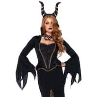 Leg Avenue's 2Pc.Evil Enchantress,Dress W/Lace Bodice,Horn Headband Small Black
