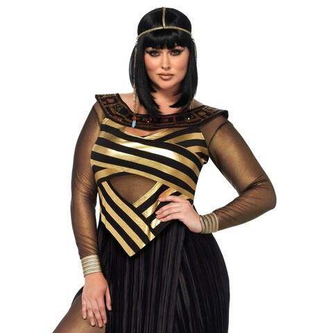 Leg Avenue's 3Pc.Nile Queen,Catsuit,Cut Out Dress,Draped Head Piece 1X-2X Black/Gold