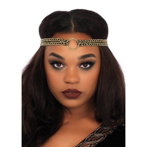 Leg Avenue's 2Pc.Glamazon Warrior,Stretch Velvet Dress W/Attached Faux Leather Panel And O-Ring Headband