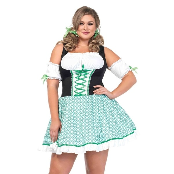 Leg Avenue\'s 2Pc.Plus Size Clover O\'Cutie,Peasant Dress W/Puff Sleeves,Hair  Bow 1X-2X Multicolor