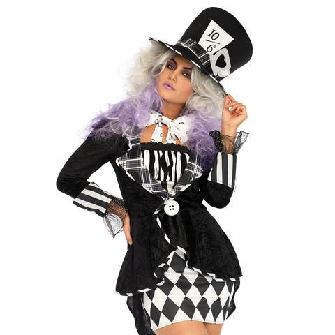 Leg Avenue's 3Pc.Wonderland Mad Hatter,Coat Dress,Bow Tie And Matching Oversized Hat