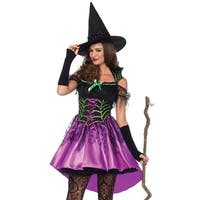 Leg Avenue's 2Pc.Spiderweb Witch,Dress With High/Low Skirt,Witch Hat Small Multicolor