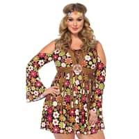 Leg Avenue's 2Pc.Starflower Hippie,Cold Shoulder Floral Fringe Dress,Flower Headband 1X-2X Multicolor