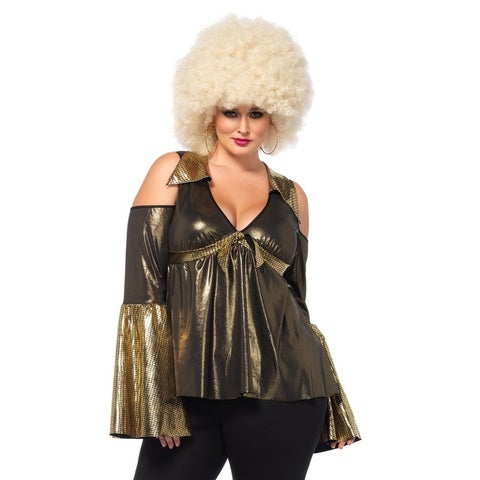 Leg Avenue's 2Pc.Disco Diva,Cold Shoulder Babydoll Top,Bell Bottom Pants 1X-2X Black/Gold