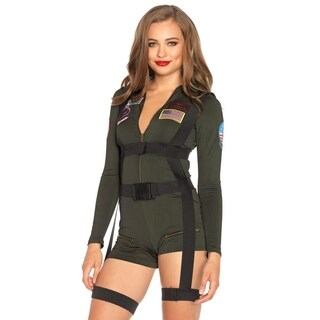Leg Avenue's 2Pc.Top Gun Romper,Spandex Romper W/Body Harness Small Khaki