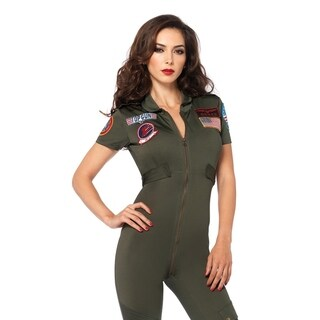 Leg Avenue's Top Gun Flight Suit,Spandex Catsuit With Interchangeable Name Badges Small Khaki