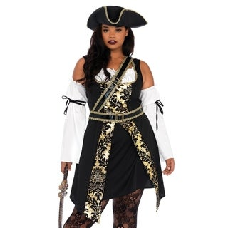 Leg Avenue's 4Pc.Black Sea Buccaneer,Dress W/Gold Brocade Trim, Sleeves,Crossbody Belt And Hat