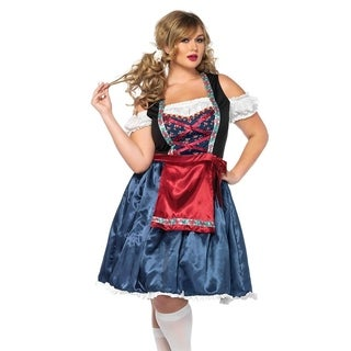 Leg Avenue's Beerfest Beauty,Tea Length Peasant Dress With Attached Bow And Apron 1X-2X Multicolor