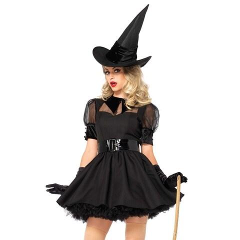 Leg Avenue's 3Pc.Bewitching Witch,Dress W/Organza,Belt,Hat Small Black