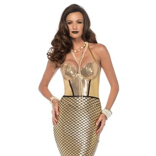 Leg Avenue's Golden Glimmer Mermaid,Halter Dress With Foam Fin Tail Small Gold