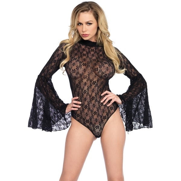 d2b464ddbff Shop Leg Avenue High neck stretch lace bell sleeve bodysuit with keyhole  back and snap crotch thong panty