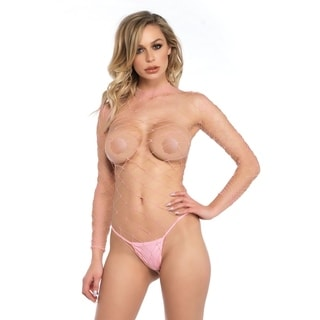 Leg Avenue High neck fence net long sleeved bodysuit with snap crotch thong panty ,O/S ,PINK