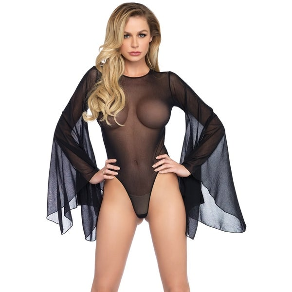 7bd5a50b859 Shop Leg Avenue Mesh bell sleeve thong back bodysuit with snap crotch and  keyhole back