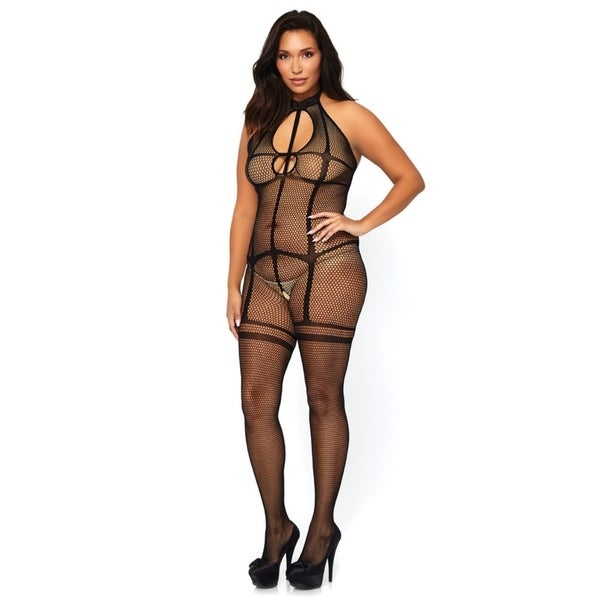 55456ea26 Leg Avenue Fishnet halter bodystocking with opaque garter illusion and  strappy keyhole cut out