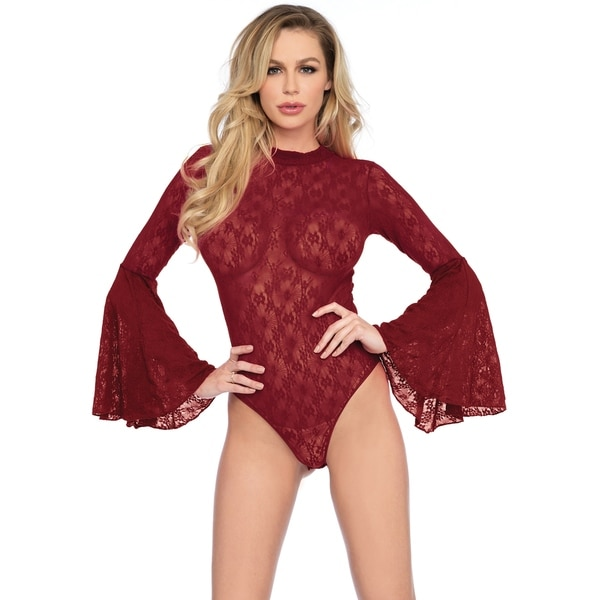 f3b561cfe97 Leg Avenue High neck stretch lace bell sleeve bodysuit with keyhole back  and snap crotch thong panty ,O/S ,BURGUNDY