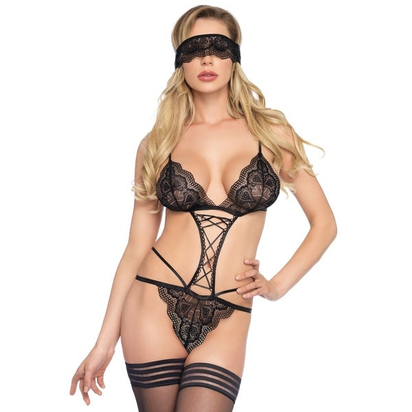 cfa2ead787b Leg Avenue 2PC.Sweetheart scalloped lace g-string teddy with ribbon lace up