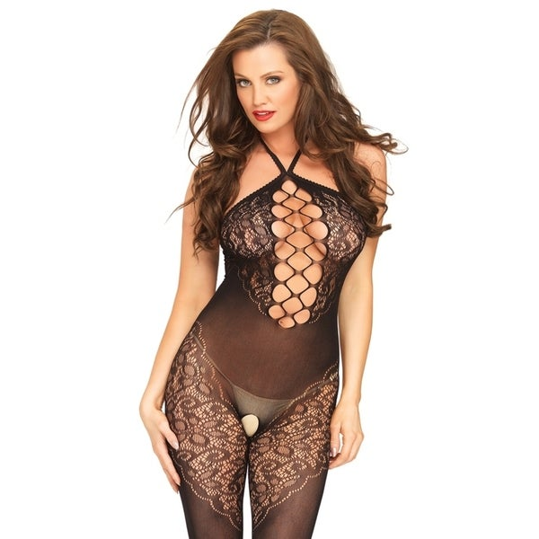 9776859aaff Leg Avenue Seamless opaque halter bodystocking with lace accents and net  center panel