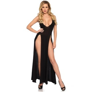 Leg Avenue Deep-V dual slit jersey maxi dress ,LARGE ,BLACK