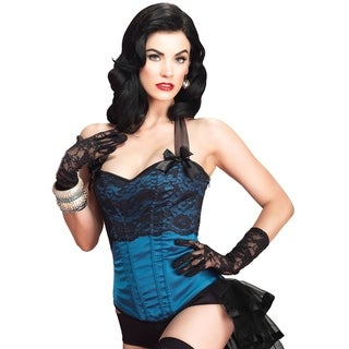Leg Avenue Selene Corset taffeta halter silhouette w/boning side zipper closure ,MEDIUM ,BLUE