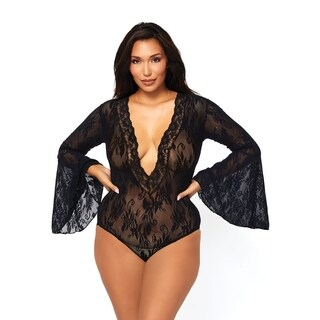 Leg Avenue Stretch lace deep-V bell sleeve bodysuit ,PLUS SIZE ,BLACK