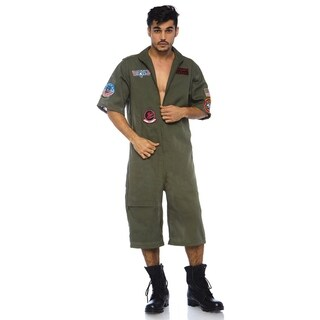 Leg Avenue Men Costume's Top Gun Men's Short Flight Suit With Interchangeable Name Badges