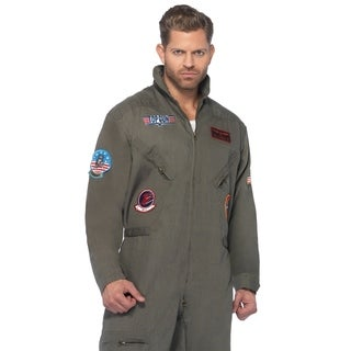 Leg Avenue Men Costume's Top Gun Men's Flight Suit,Zipper Front Flight Suit 1X Khaki
