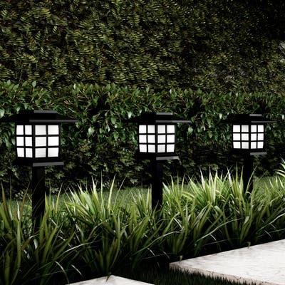 "Solar Pathway Coach Lights 15"" Set of 6 Pure Garden"