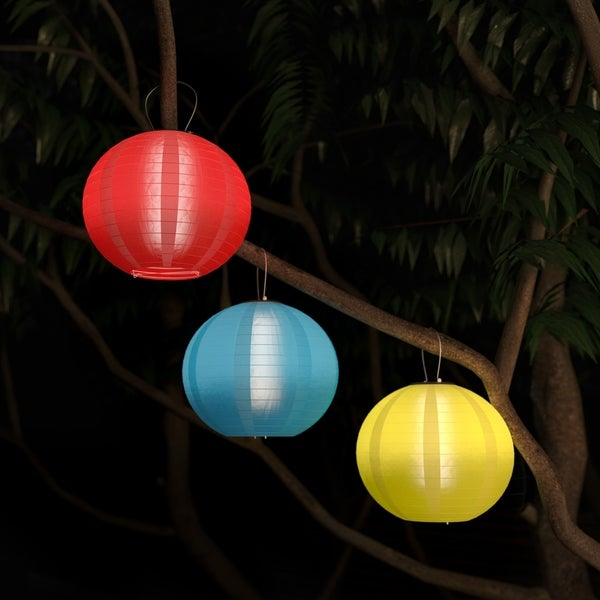 Chinese Lanterns Solar Powered LED Bulbs Pure Garden Set of 3. Opens flyout.