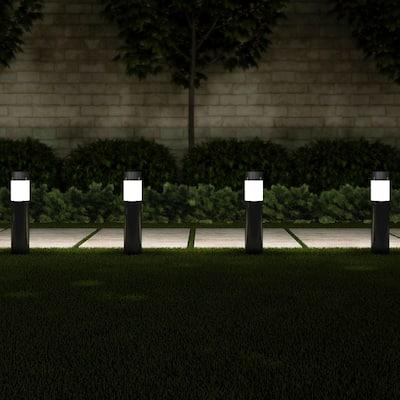 "Solar Path Bollard Lights, Set of 6 15"" Stainless Steel Pure Garden - N/A"